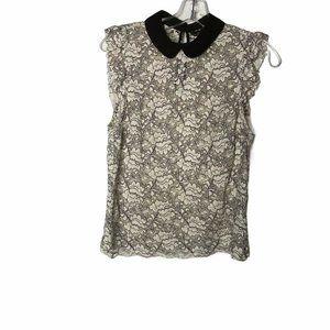 Zara Floral Lace Cap Sleeve Top Peter Pan Collar S